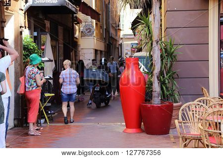 Nice, France - May,18:This is one of the oldest streets of the city where there is a lively street trade May 18, 2015 in Nice, France.