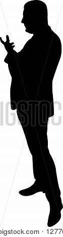 a standing man body, black color silhouette vector