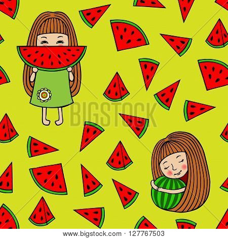 Vector watermelon background. Girl eating watermelon. Girl hugging a watermelon. Watermelon slices form a seamless pattern.