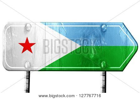 Djibouti flag, 3D rendering, vintage road sign isolation