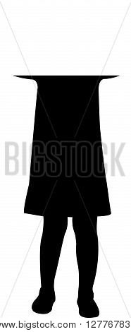 a scared child, covering with hands her ears, silhouette vector