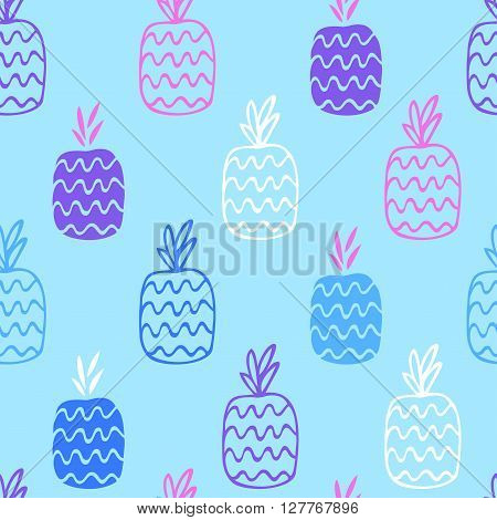 The pineapples are hand-drawn on a blue background create a continuous pattern. Can be used for textile printing, packaging, Wallpaper.