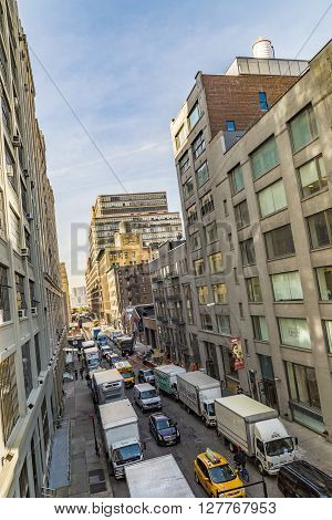 Street View To  Neighborhood Midtown With Parking Cars In New York