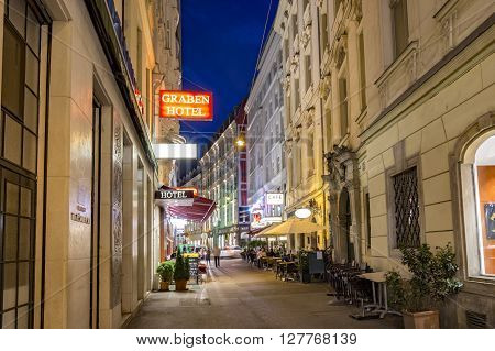 People Visit Graben Street In Vienna By Night