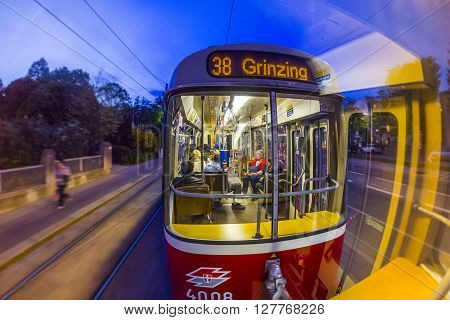 Old Fashioned Tram By A Night Ride