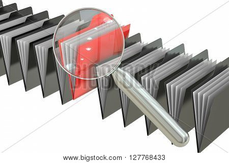 File search concept: folders and magnifying glass 3D rendering