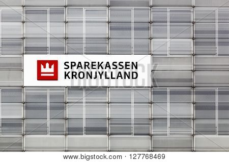 Randers, Denmark - March 13, 2016: Sparekassen Kronjylland offices. Sparekassen Kronjylland is a regional bank with headquarters in Randers, Denmark