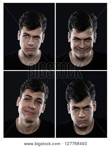 collection of cool young man emotions on a black background