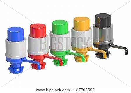 Set of Gallon Bottle Drinking Water Pumps 3D rendering