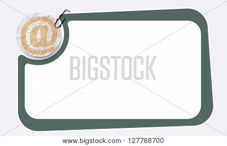 Green Frame and crumpled slip of paper and email symbol