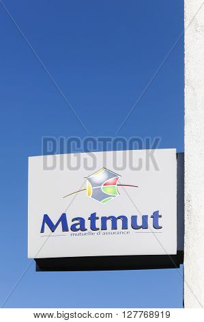Villefranche, France - March 27, 2016: Matmut logo on a wall. Matmut group accompanies its policyholders throughout life. It insures their property, their health, retirement, savings and banking