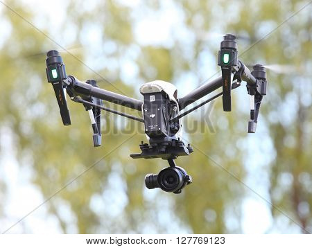 PILSEN CZECH REPUBLIC - APRIL 29, 2016: New drone quadrocopter Dji Inspire Raw with Zenmuse X5R that is also the first camera of this type able to shoot 4K raw video. Tool for professional filmmaking.