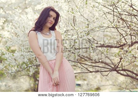 Beautiful Woman In A Spring Park