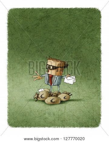 Frightened robber in black mask with two letter in hand looking back while standing on pile of money bags