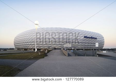 MUNICH GERMANY - DECEMBER 03 2015: The Allianz Arena is a football stadium with a 75024 seating capacity in Munich Germany