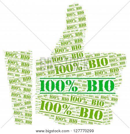 100 percent bio word cloud concept illustration