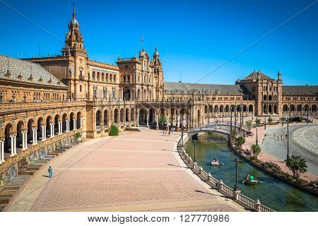 Sevilla ,Spain 3- May 2014:  Beautiful Plaza de Espana Sevilla Spain .