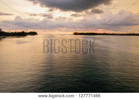 Viewpoint Andaman Sea at sunset from Sarasin Bridge in Phuket Province Thailand
