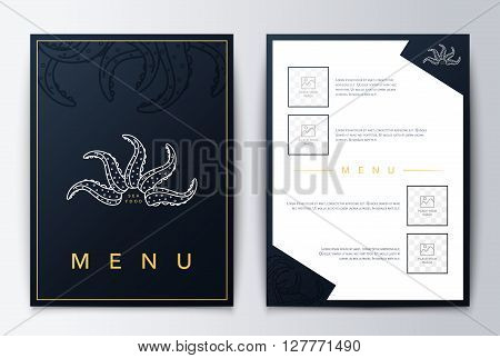 Design cover menu brochure culinary . Menu design. Menu background for restaurant or coffee. Restaurant menu, template design. Food flyer brochure. Sea restaurant menu design.