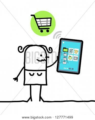 cartoon character with tablet - shopping