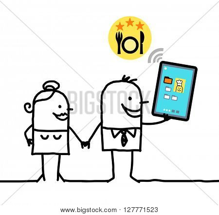 cartoon character with tablet - restaurant
