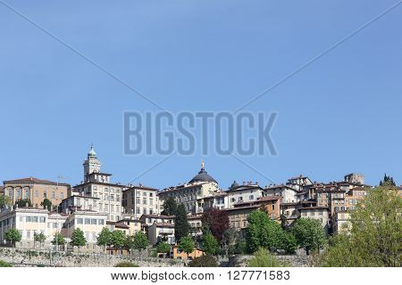 View of the upper city of Bergamo in Italy