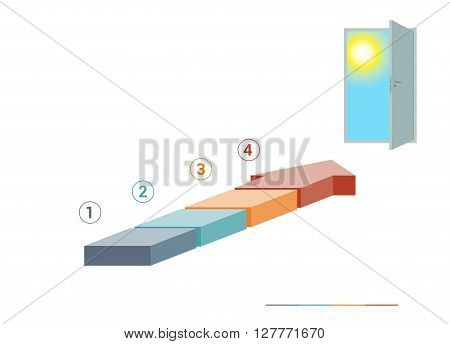 Template infographics from colored parts arrows and doorway with sky sun on white background numbered for 4 positions