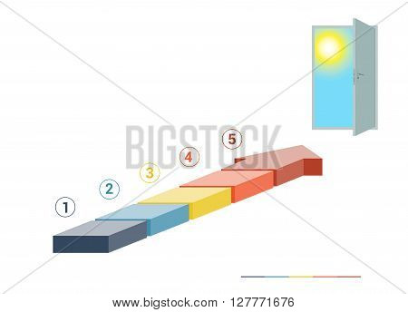 Template infographics from colored parts arrows and doorway with sky sun on white background numbered for 5 positions