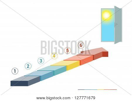 Template infographics from colored parts arrows and doorway with sky sun on white background numbered for 6 positions