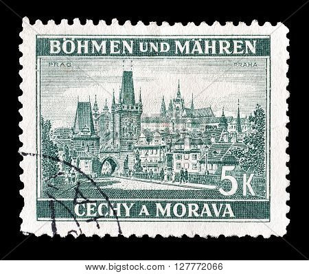 GERMANY - CIRCA 1939 : Cancelled postage stamp printed by Germany, that shows Prague.