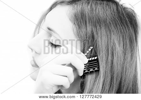 Woman With Movie Clapper On White Close Up