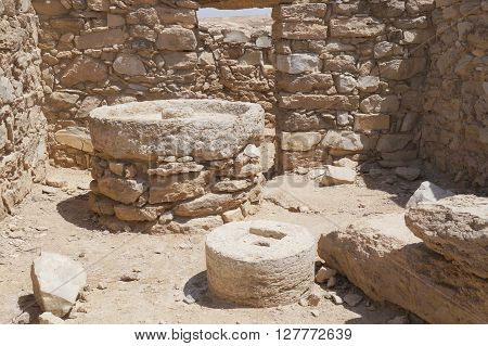 Olive press for making oil in Moa fortress, ancient ruined building in South Israel