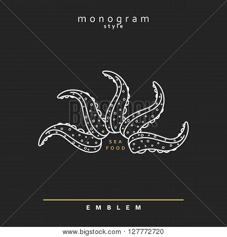 Emblem Sea monogram style elegant octopus.  Sea food. Octopus marine theme . Abstract Elegant octopus design template. Linear style. Seafood restaurant vintage outline icon.