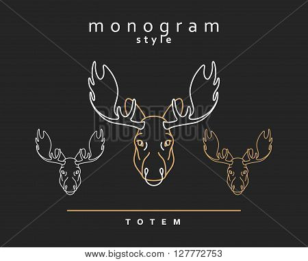 Monogram elk totem moose,  A set of monogrammed moose. Sketch of moose, elk. Wild animals. Emblem  Christmas deer. Forest animals. Elk horns. The head of a moose.