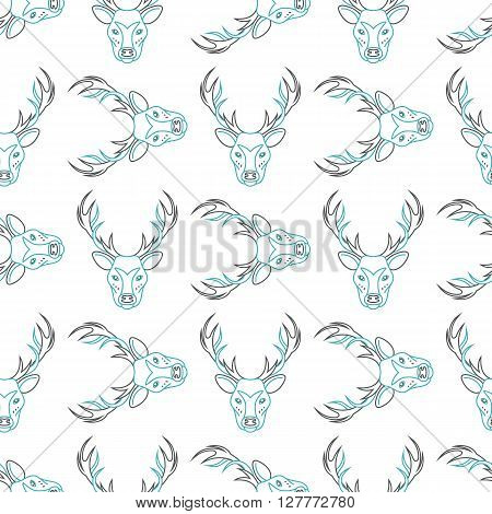 Pattern background with the deer  seamless patterns with elk . The head of a deer pattern . Pattern design seamless.