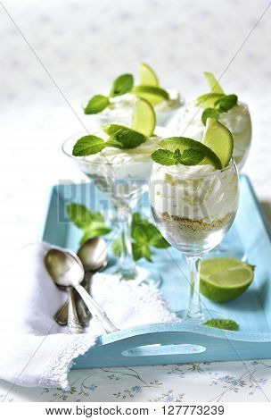 Lime And Mint Cheesecake.
