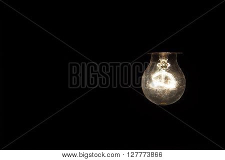 Hanging light bulb dangle on a wire