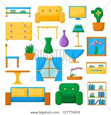 Living room interior. Living room furniture. Set of vector cartoon living room icons. Vector indoor design. Cartoon colorful furniture. Home living room design. Modern furniture for house interior