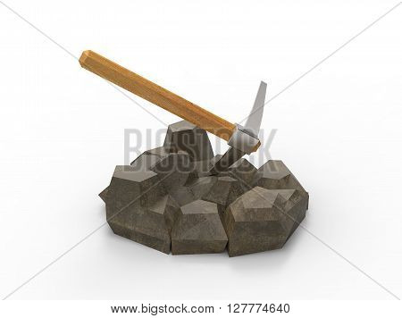 3d illustration of pick on the rocks. isolated on white background with shadow. icon for game web. simple to use.