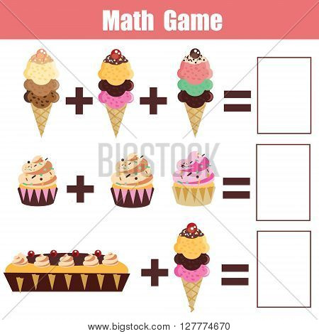 Math educational game for children. Learning addition