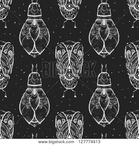 Greeting pattern with bug. Ornamental of Insect made in vector. Beetle ornamental. Element for design. Hand drawn map with  bug ornamental.