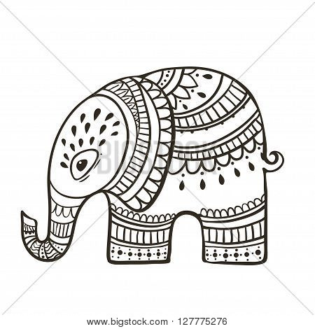 Card with Elephant. Frame of animal made in vector. Elephant Illustration for design, pattern, textiles. Hand drawn map with Elephant. Use for childrens clothes, pajamas, web sites