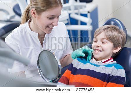 Having His Monthly Orthodontic Checkup