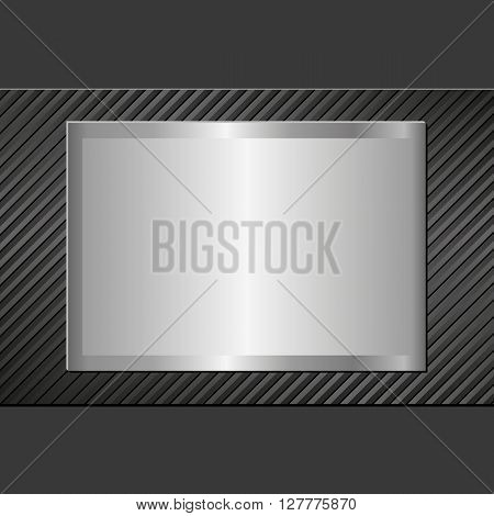 black background with steel plaque - vector illustration