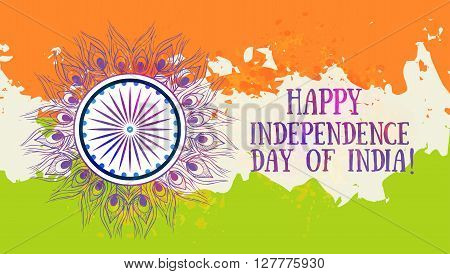 Ornametal Indian Independence Day with mandala. Invitation card in vector. Independence Day, observed annually on 15 august is a national holiday in India commemorating the nations independence