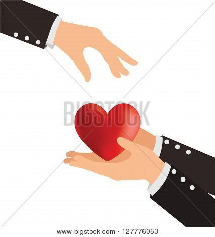 Business Hand Giving Heart With Love Concept