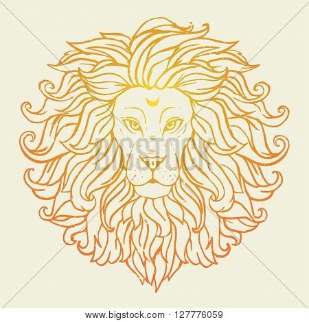 Greeting Beautiful card with loin safari. Frame of animal made in vector. Tiger Illustration for design, pattern, textiles. Hand drawn map with lion. Use for children's clothes, pajamas, web sites