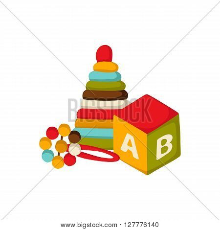 Vector background with newborn or children toys: cube with alphabet beanbag pyramid in cute cartoon style. Newborn goods concept. Pattern for children book or package design. Newborn background