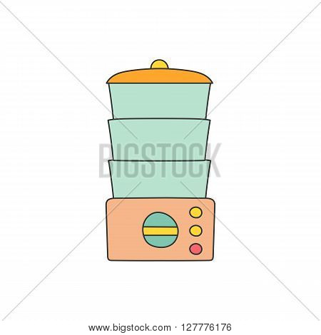 Isolated cartoon line kitchen steamer on white background. Kitchen home appliances concept. Healthy food concept. Vitamins preservation in kitchen steamer. Vector kitchen appliances for healthy food