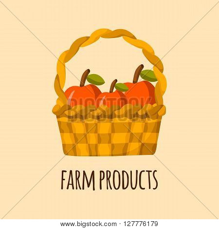 Apple basket vector. Cartoon farm production. Organic fresh farm products. Healthy snack. Organic market store concept. Apple basket vector illustration in cartoon style. Green organic farm products